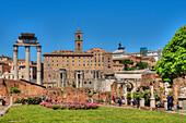 Temple of Castor and Pollux, Senators palace, Arch of Septimus Severus, Forum romanum, Rome, Latium, Italy