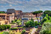 Colosseum, Arch of Titus, Arch of Constantine, Forum romanum, Rome, Latium, Italy