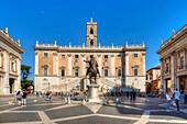 Piazza del Campidoglio, Senators palace, Rome, Latium, Italy