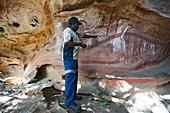 Felsmalereien der Aborigines in der Nähe vom Laura, Queensland, Australien