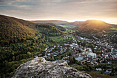 autumn view from Rosenstein rock at Triumph company in Heubach, at sunset, Aalen, Ostalb district, Swabian Alb, Baden-Wuerttemberg, Germany