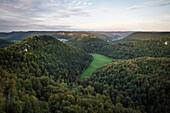 view at fortress Hohenurach and Hohenneuffen, Bad Urach, Reutlingen district, Swabian Alb, Baden-Wuerttemberg, Germany