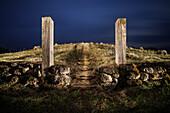 celtic burial mound at open air museum Heuneburg, celtic settlement Pyrene, Hundersingen urban district of Herbertingen, Sigmaringen district, Swabian Alb, Baden-Wuerttemberg, Germany, lightpainting