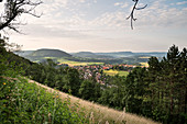 view from Rech Mountain towards Horn Mountain, community Rechberg (one of the so called three Emperor Mountains) is part of Schwaebisch Gmuend, Swabian Alb, Baden-Wuerttemberg, Germany