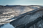 view from Hohenneuffen fortress towards Teck fortress during winter, Neuffen, Esslingen district, Swabian Alb, Baden-Wuerttemberg, Germany