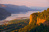 View at the Columbia River Gorge and Crown Point Vista House , Oregon , U.S.A. , America