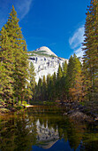 View at Merced River and North Dome , Yosemite Valley , Yosemite National Park , Sierra Nevada , California , U.S.A. , America