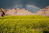 Rainbow over buttes in Badlands National Park, South Dakota, USA