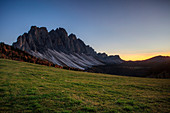 Funes valley, the last light on the Odle group at malga Gampen, Trentino Alto Adige, Italy