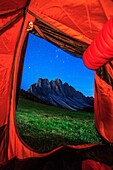 Malga Gampe, Odle group by night seen from the tent, Funes valley, Trentino Alto Adige, Italy
