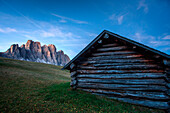 First light at malga Gampen, in the background the Odle group, Trentino Alto Adige, Italy
