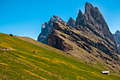 Landscape on the Seceda mountains with great views of the rocky peaks. Dolomiti, Trentino Alto Adige, Italy.