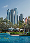 Waterfront near modern highrises, Abu Dhabi, Abu Dhabi Emirate, United Arab Emirates