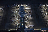 Aerial view of airplanes parked in airport gate