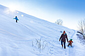 Young family in the snow in winter, boy with mother pulling daughter on sledge, Harz, MR, Sankt Andreasberg, Lower Saxony, Germany