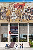 The Mosaic mural above the entrance to the National Historical Museum on Skanderbeg Square, Tirana, Albania,.
