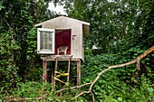An elevated children´s play house nestled among trees and kudzu vine in a back yard in the country, Alabama, USA