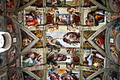 Ceiling of Sistine Chapel Vatican museum Rome Italy. The Creation of Adam by Michelangelo on the ceiling of the Sistine Chapel in the Vatican Museum.