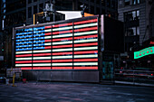 illuminted american flag of US Navy at Times Square, Manhattan, New York City, USA, United States of America