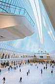 one of the two viewing plattforms inside the Oculus, futuristic train station by famous architect Santiago Calatrava next to WTC Memorial, Manhattan, New York City, USA, United States of America