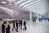 the Oculus, entrance to trains, futuristic train station by famous architect Santiago Calatrava next to WTC Memorial, Manhattan, New York City, USA, United States of America
