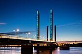 Pont Jacques Chaban-Delmas bridge at dusk. Bordeaux, Gironde. Aquitaine France Europe.