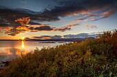 Sunset over Lake Thingvellir, Thingvellir National Park in the autumn, Iceland. Unesco World Heritage Site.