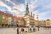 Poland, Poznan City, Stary Rynek, Town Hall Bldg. , Picturesque houses, Old Town Square.