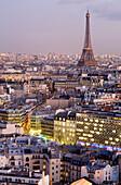 France, Paris, the Eiffel Tower illuminated (© SETE-Illuminations Pierre Bideau) at nightfall seen from the Concorde Lafayette Hotel