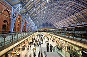 United Kingdom, London, St Pancras International train station, nave with an access to the commercial zone