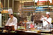 Singapore, Grand Hyatt, Mezza9 restaurant designed by Japanese designer Super Potato, open kitchen
