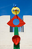 Spain, Catalonia, Barcelona, Montjuic, Placa de Neptu, Joan Miro Foundation by architect Josep Lluis Sert, Miro's artwork on the terrace