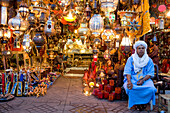 Morocco, Haut Atlas, Marrakesh, Imperial city, Medina listed as World Heritage by UNESCO, lamp shop on Jemaa el Fna square