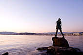 France, Alpes Maritimes, Cannes, the Croisette at nightfall, mermaid Atlante, guarding Port Canto, by sculptor Amaryllis Bataille