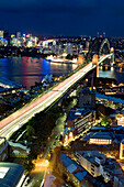 Australia, New South Wales, Sydney, Harbour Bridge and the bay seen from the Blu Horizon Bar in the Shangri-La Hotel