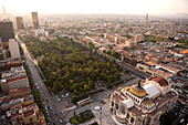 Mexico, Federal District, Mexico City, Alameda Park and Palacio de Bellas Artes seen from the Torre Latino America