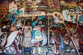 Mexico, Federal District, Mexico City, the National Palace, Diego Rivera's paintings about the Pre-Columbian civilization, Aztec warriors