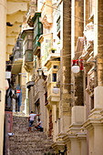 Malta, Valletta listed as World Heritage by the UNESCO, streets of the old historical city