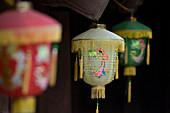 Vietnam, Thai Binh, Keo Pagoda, Chua Keo, built in the 12th century, paper lanterns
