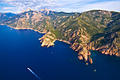 France, Corse du Sud, the Gulf of Porto, listed as World Heritage by UNESCO, Calanches de Piana, Piana village (aerial view)