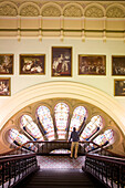 Australia, New South Wales, Sydney, Central Business District, Queen Victoria Building, stained glass windows and paintings of Queen Victoria