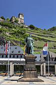 Monument of Blücher underneath Burg Gutenfels Castle, Kaub, Upper Middle Rhine Valley, Rheinland-Palatinate, Germany, Europe