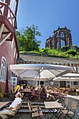 Restaurant Posthof underneath the Werner Chapel in Bacharach, Upper Middle Rhine Valley, Rheinland-Palatinate, Germany, Europe