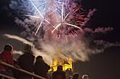 Fireworks Rhine in Flame, in St. Goarshausen underneath Burg Katz Castle, Upper Middle Rhine Valley, Rheinland-Palatinate, Germany, Europe