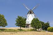 Windmill Lundsgardsmark near Sønderborg, Southern Denmark, Denmark, Scandinavia, Northern Europe