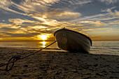 Small boat in the Evening at the Baltic Sea in Dierhagen, beach. Dierhagen, Darß, Mecklenburg-Vorpommern, Germany