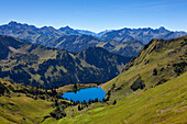 Lake Seealpsee, at Nebelhorn, near Oberstdorf, Allgaeu Alps, Allgaeu, Bavaria, Germany