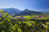 View over Ostrach valley with Bad Oberdorf, Bad Hindelang and Imberger Horn, Allgaeu Alps, Allgaeu, Bavaria, Germany