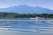 Paddle steamer Ludwig Fessler on lake Chiemsee, near Gstadt, Bavaria, Germany