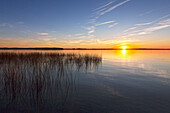 Sunset at Lake Schwerin, Mecklenburg Lake District, Mecklenburg-West Pomerania, Germany